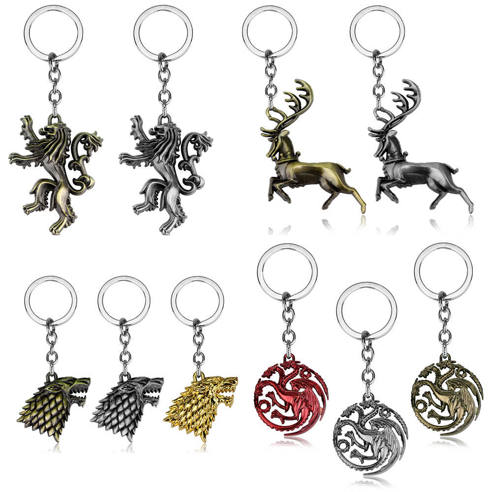 HBO TV Series Game Of Thrones Key Chain Holder House Stark Lannister Targaryen Logo Keychains Keyrings Jewelry Gifts For Man
