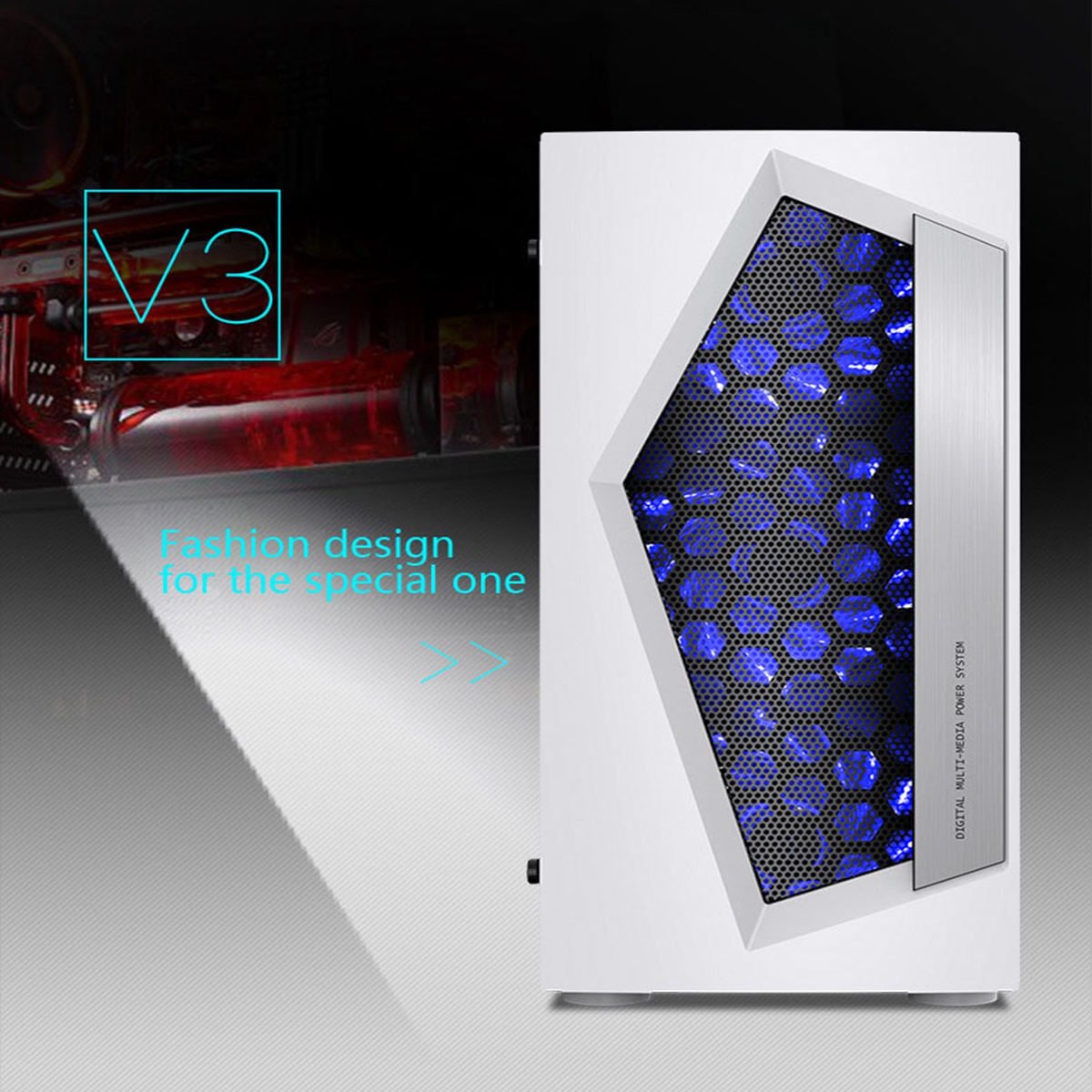 купить V3 ATX Computer Gaming PC Case 8 Fan Ports USB3.0 For M-ATX/Mini ITX Motherboard Mid Tower Water Cooling Enclosure по цене 5579.19 рублей
