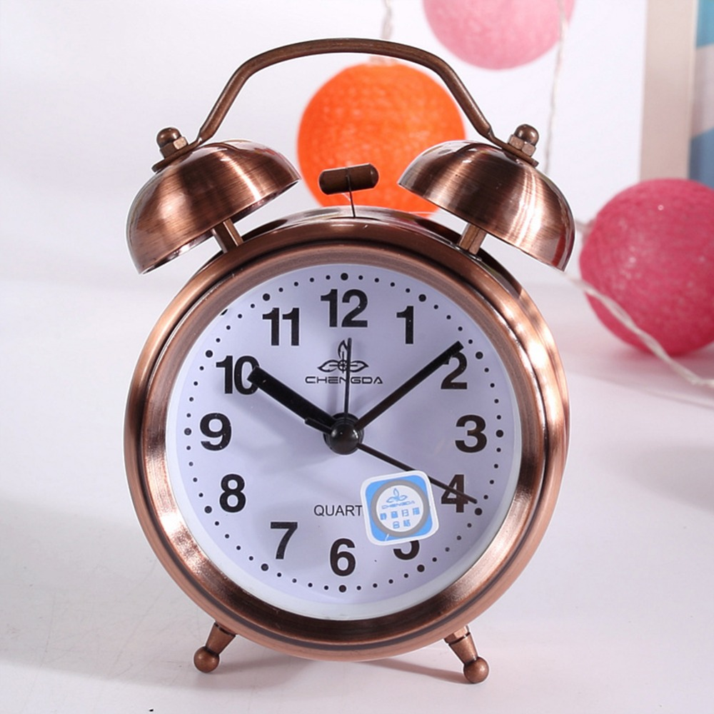 Adeeing Classic Vintage Silent Night LED Light Bell Alarm Clock Lazy Bedside Desk Clock Christmas Gift for Students