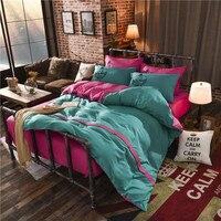 Mode Ink Grün + Rosa AB Layout Bettbezug Gesetzt Einzel Double Twin/Königin 4 stücke Bettwäsche sets Themen Bettwäsche Super Weiche Warme-in Bettwäsche-Sets aus Heim und Garten bei