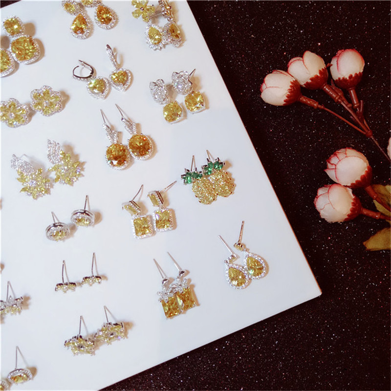 Charms Drop Earrings For Women S925 Sterling Silver Hyperbole Lovely Citrine Cubic Zirconia Diamant Elegant Fine Jewelry Earring сетевой удлинитель эра ur 3 3m w 3м белый [б0019038]