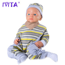 IVITA 5KG 22inch Lifelike FULL BODY SILICONE Reborn Baby Doll Girl Child Toys With Clothes Real Lovely