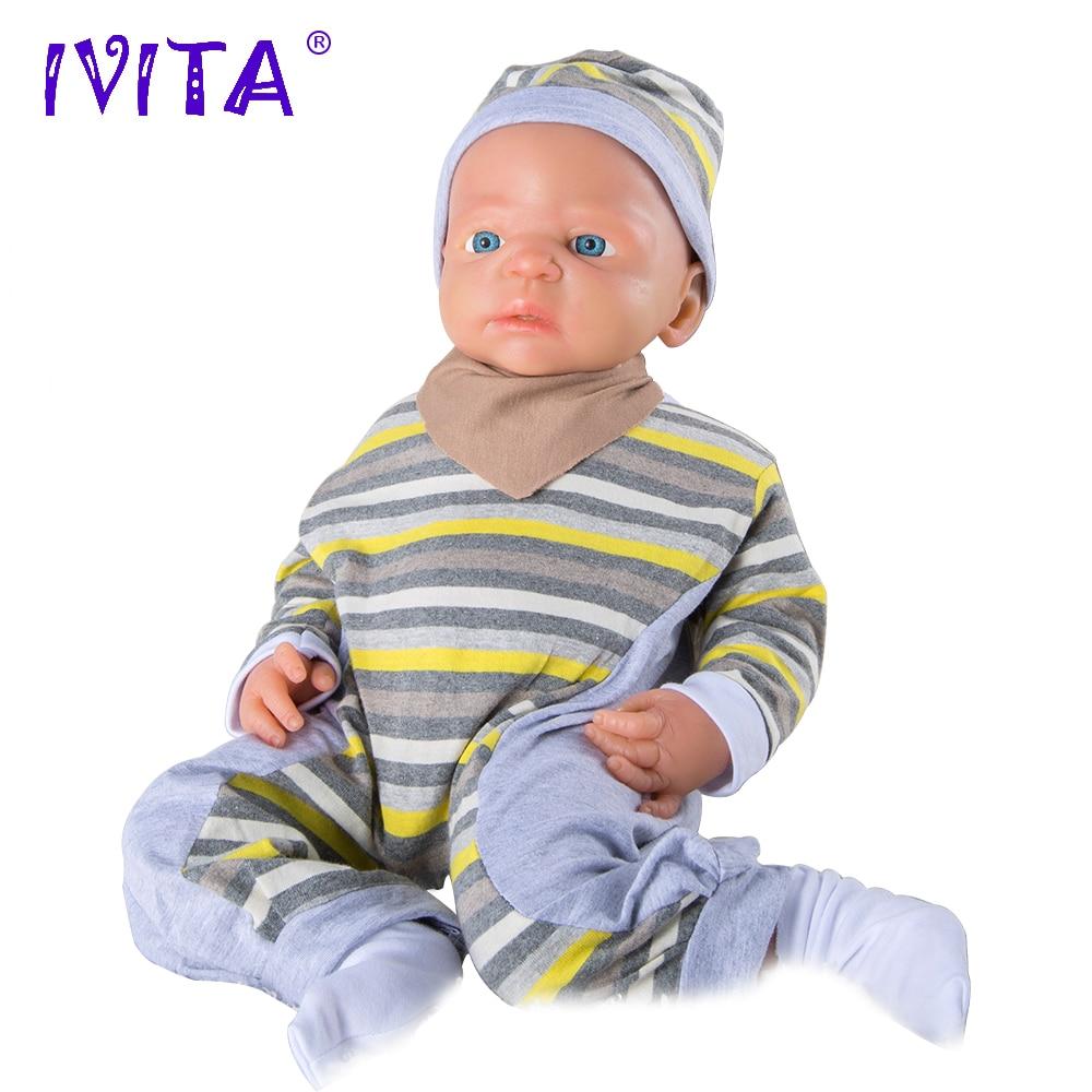 IVITA 5KG 22inch Lifelike Corp FULL SILICONE Reborn Baby Doll Girl - Păpuși și jucării umplute