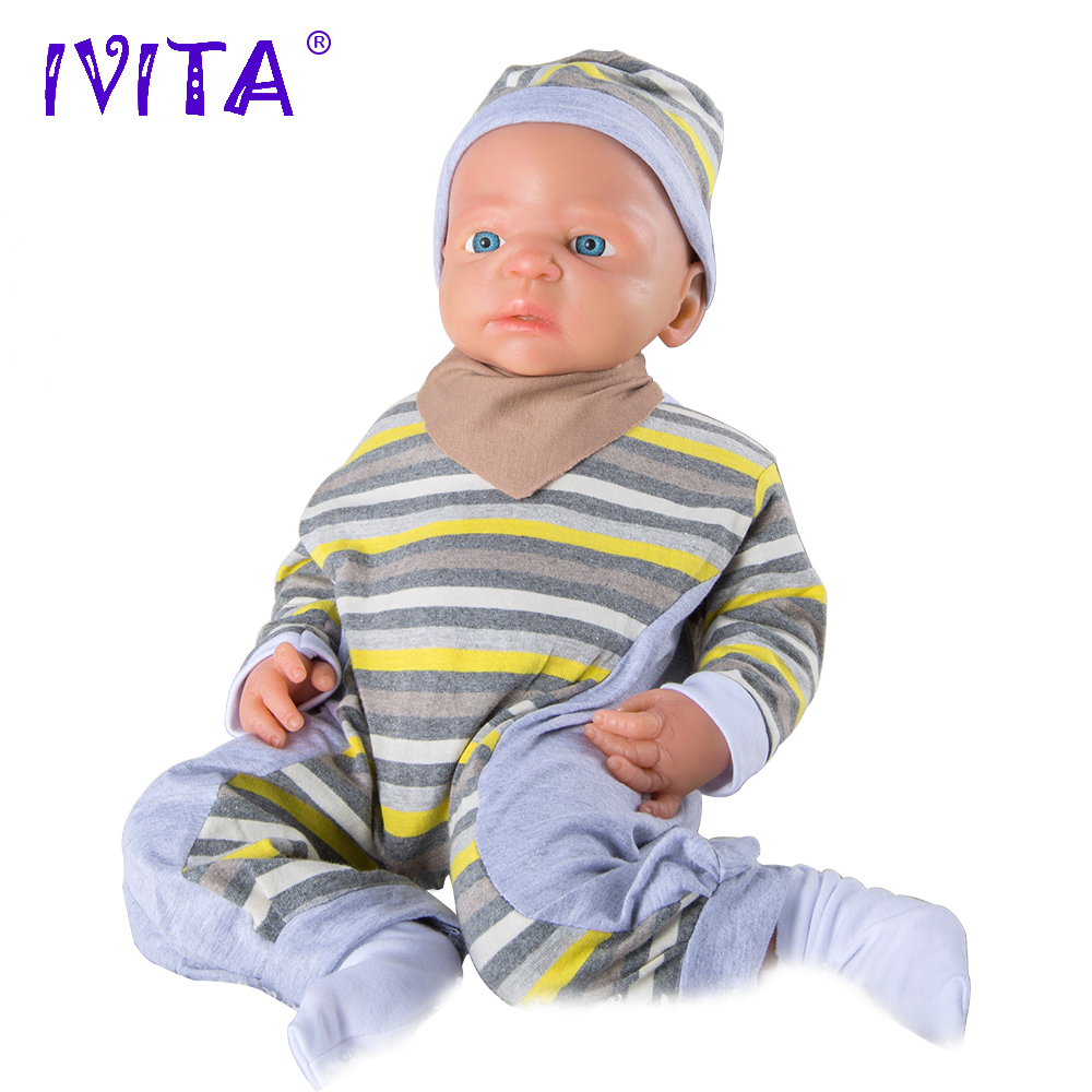 IVITA WB1504 56cm 5kg High Quality Full Body Silicone Reborn Dolls Boy Eyes Opened Born Alive Baby with Clothes Toys Juguetes