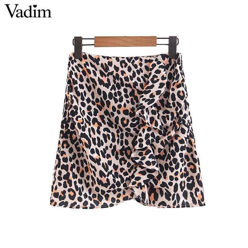 Vadim Women Sexy Ruffled Leopard Print Skirt Side Zipper Faldas Mujer Female Basic Streetwear Summer Casual Mini Skirts Ba076