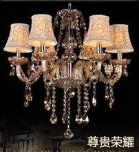 Multiple Chandelier Crystal  lamps bedroom  light The cognac color 6head covered 60 cm  Lights ZZP