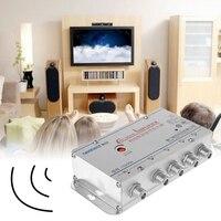 Бесплатная доставка Новый 4 способ CA ТВ видеомагнитофон ТВ антенна усилитель сигнала 220 в 45-860 МГц усилитель сплиттер