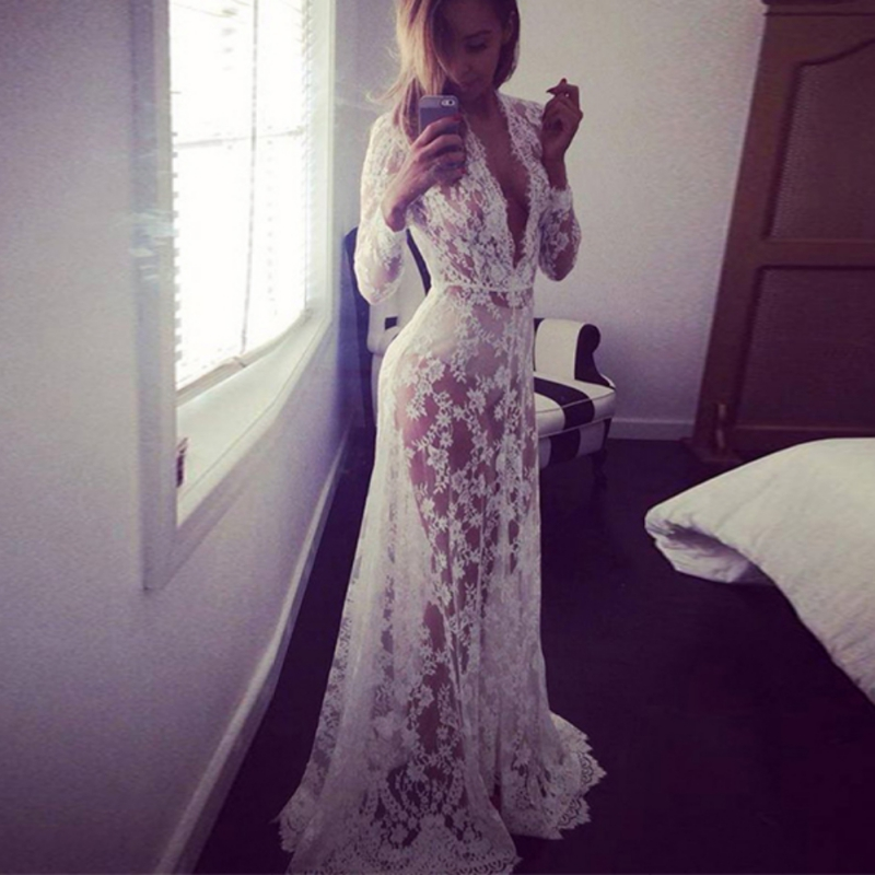 Women Retro Floor-Length Black White Lace Dress Adjust Waist Sexy See Through Floral Vestido