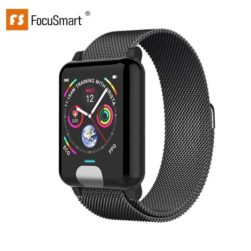 FocusSmart E04 Smart Watche ECG PPG Blood Pressure Fitness Tracker Gps Smartwatch Bracelet Heart Rate Monitor Activity Tracker