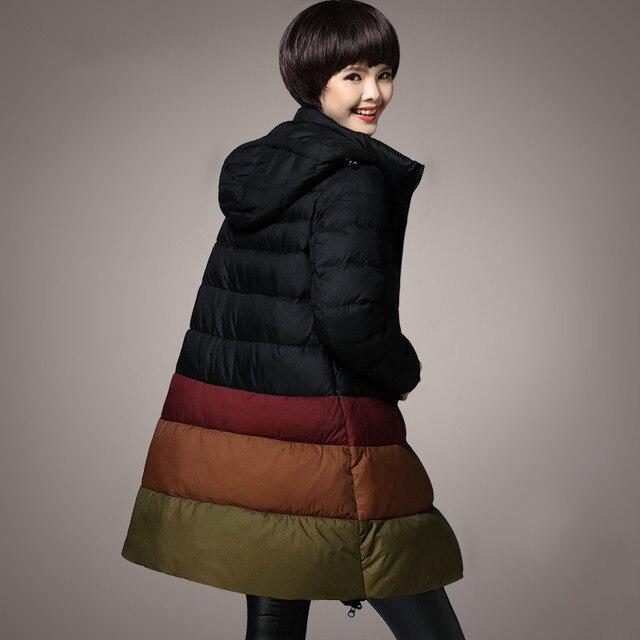 Зимнее пальто женские M-5XL плюс Размеры утка Пух куртка 2017 зимняя средней длины женские Пух куртка и пальто 5XL большой Размеры с капюшоном