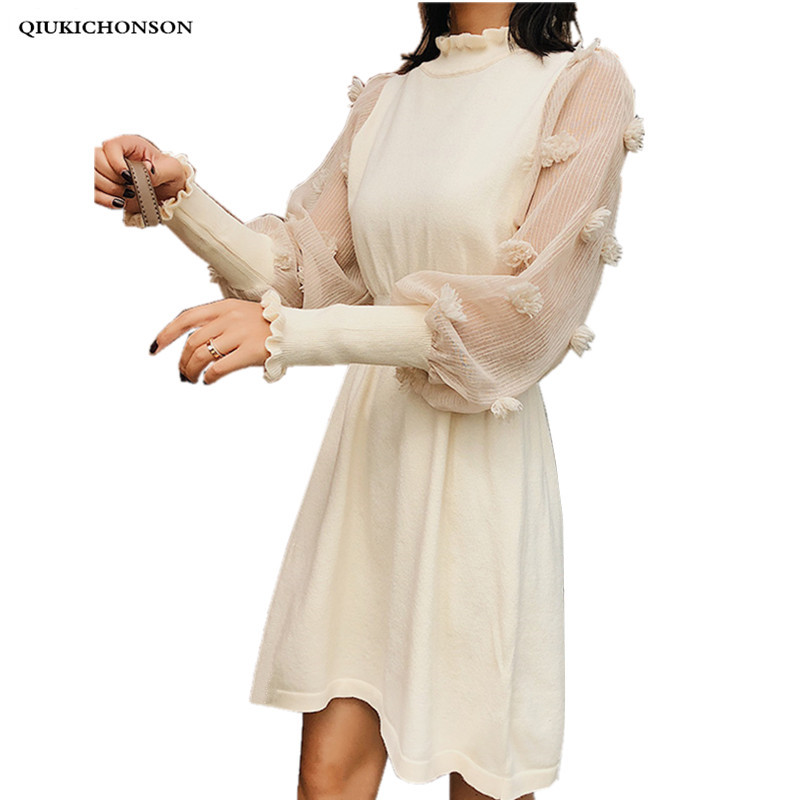 Women Sweater Dress 2018 Spring Autumn Vintage Elegant Ladies Stand Collar Mesh Pathwork Lantern Sleeve Ladies Dresses