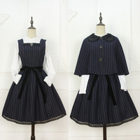 Custom Tailored ~ Vintage England Style Striped Sleeveless Dress with Cape by Miss Point