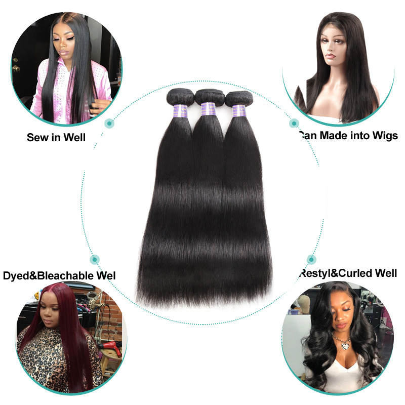 Allove Indian Straight Hair Weave Bundles 100% Human Hair Bundles 8-28 Inch Natural Color Non Remy Hair Machine Double Weft