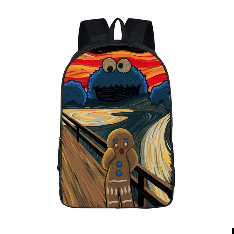 funny cookie monster backpack for teenage girls boys the