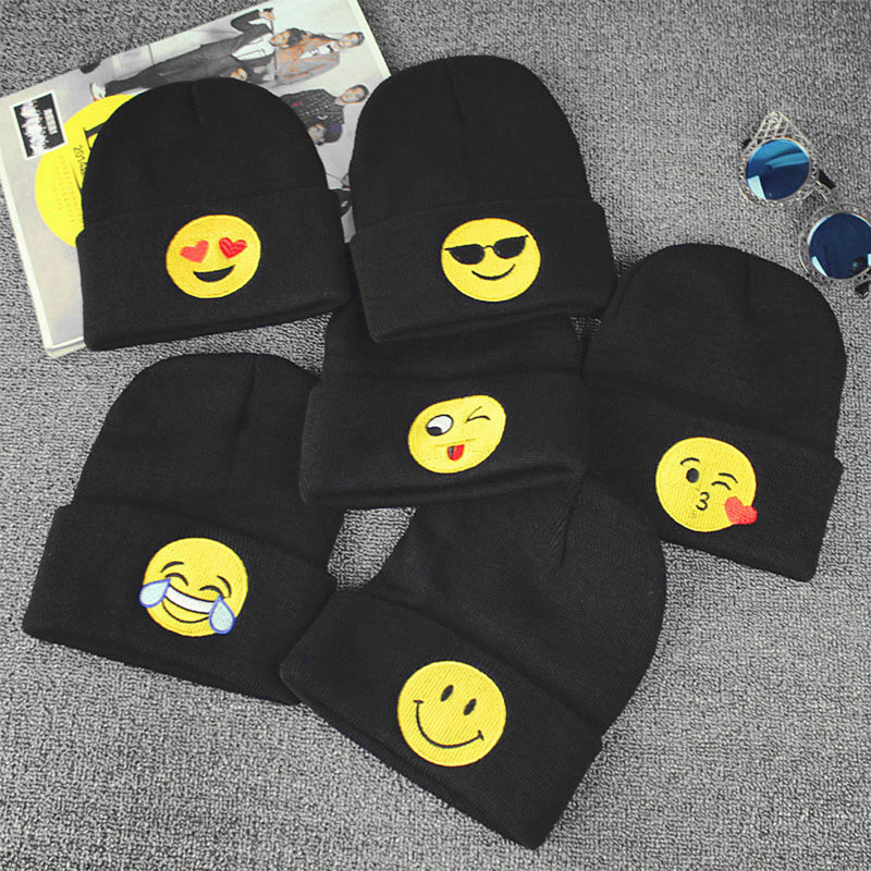 Emoji Knit Beanie Cap Adult Child Mens Winter Warm Hat Unisex Hip Hop Adjustable mens summer cap thin beanie cool skullcap hip hop casual hat forbusite