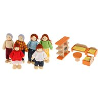 Wooden Miniature Family Dolls Dollhouse Furniture Set Pretend Play Role Playing Game Educational Toys Gift for Children Kids