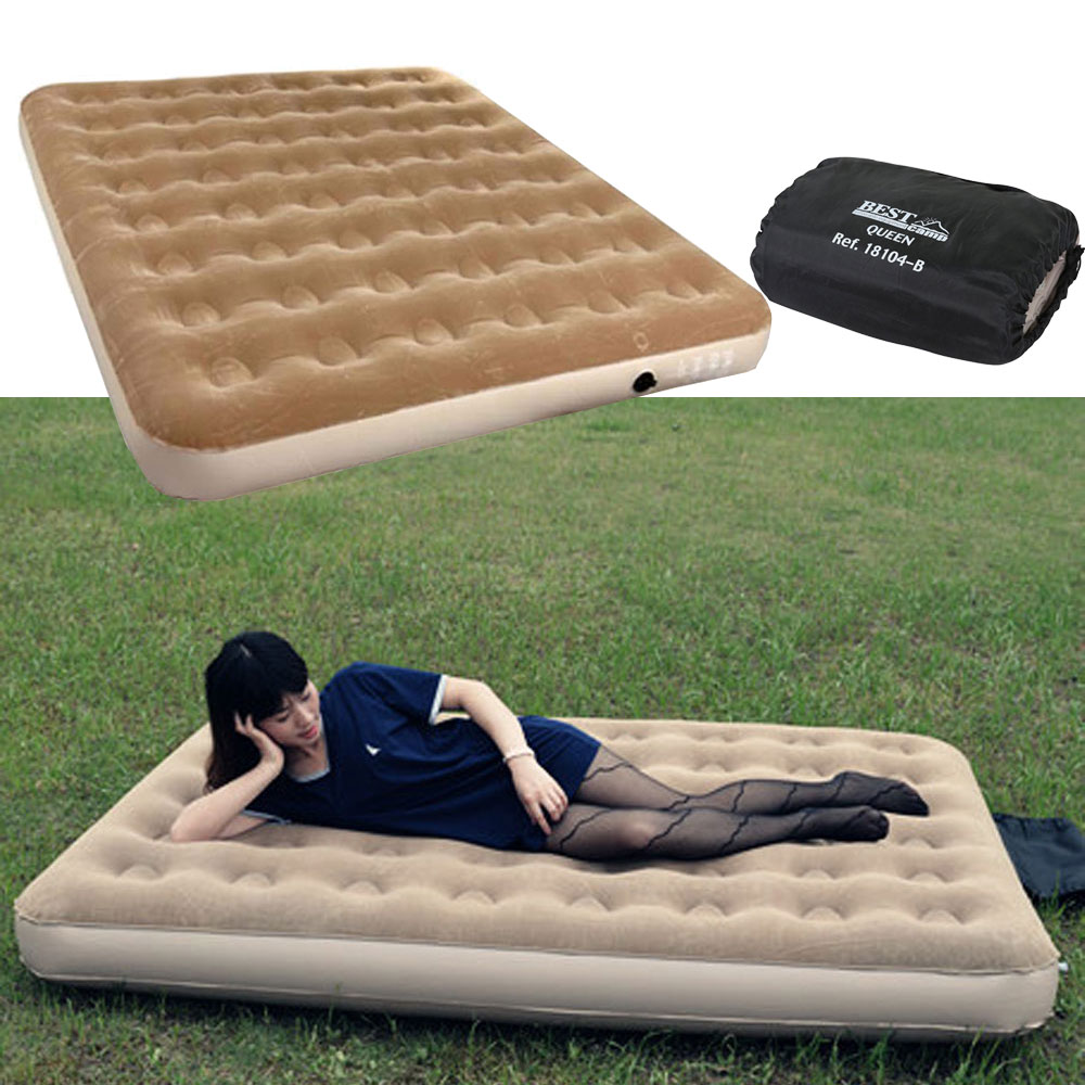 Outdoor Bedroom Brown Ultra Double Daybed Lounger Airbed Inflatable  Pull-Out Sofa Couch Air Bed