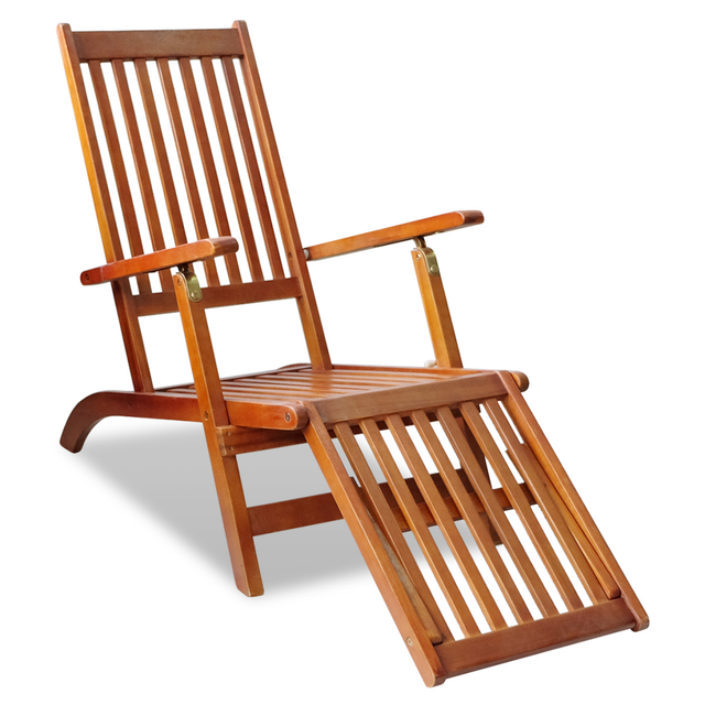 IKayaa Sunbed With Footrest Made Of Acacia Wood Outdoor Chair Furniture ES  Stock