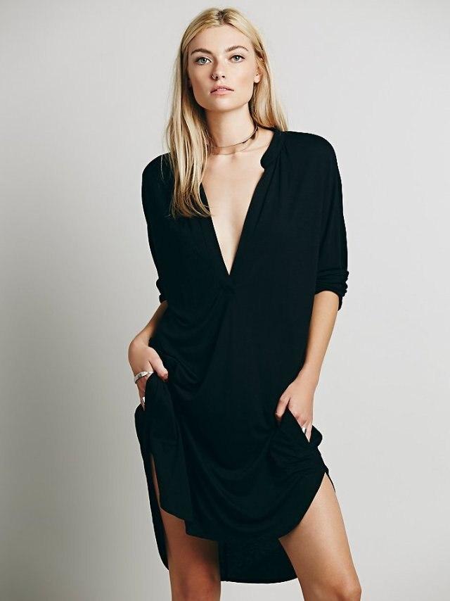 e45d6ef2701b Click here to Buy Now!! 2018 женские новые осенние свободные платья  Нерегулярные глубоким v-образным вырезом повседневные ...