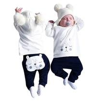 Cute Baby Boys Girls Bear cloth set  Warm Winter Tops Sweater Harem Pants for Newborn Infant Children Clothes Kid Clothing цена 2017