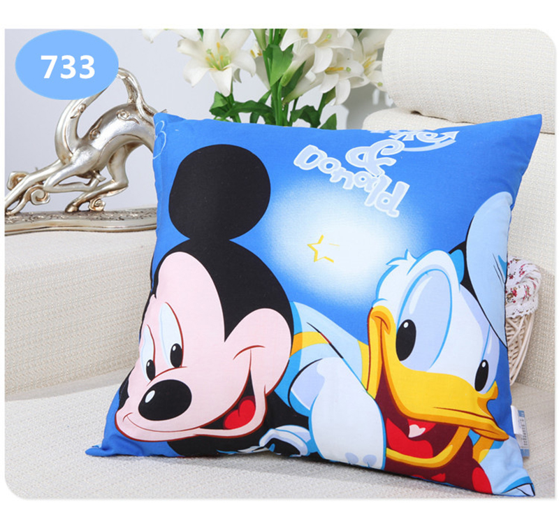 Mother & Kids Cooperative Disney Carton Printing Pillow Frozen Princess Mickey Mouse Donald Duck Snow White Printing Throw Pillow Bolster Square Cushion Baby Bedding