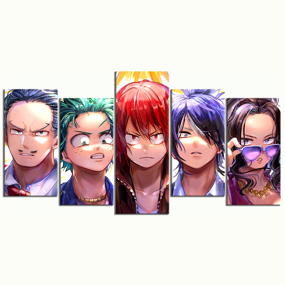 5 Piece My Hero Academia Anime Poster Cartoon Characters Pictures Modern Oil Painting Wall Art for Home Decor 3