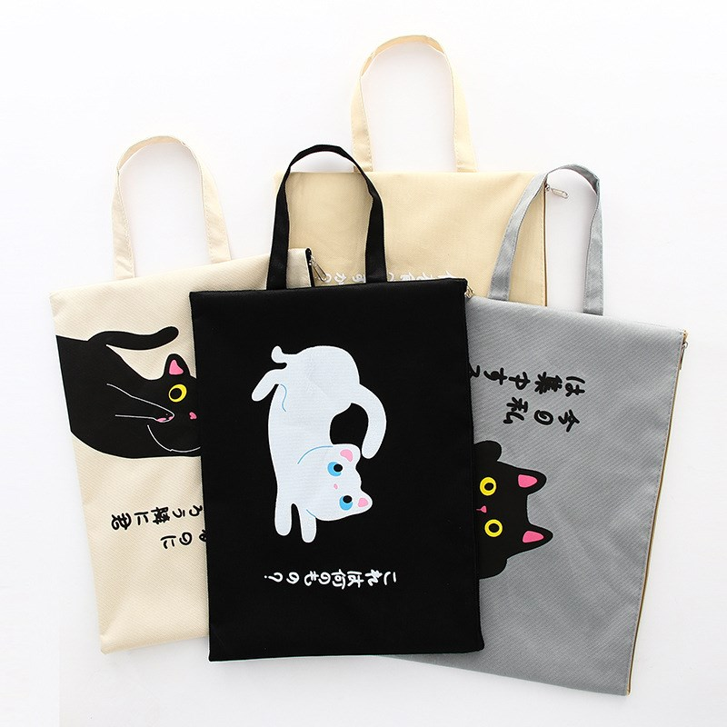 A4 Document Bag Cat Folder Bag Cute Larger Simple Cloth High Quality Documents Folder Supplies Stationery