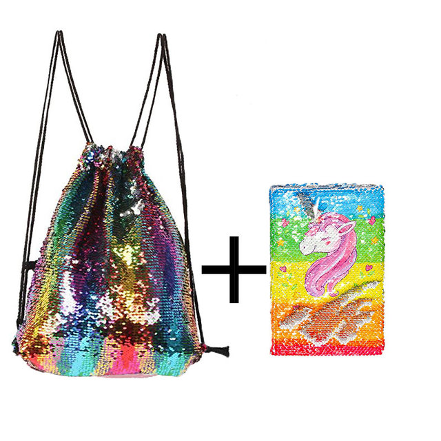 Magic Mermaid Reversible Sequin Drawstring Backpack/Bag Gifts sequins  ornaments