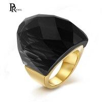 Acero inoxidable oro color rectángulo cristal anillo de la manera de las mujeres, negro Rosa Blanco azul tamaño 6 7 8 9