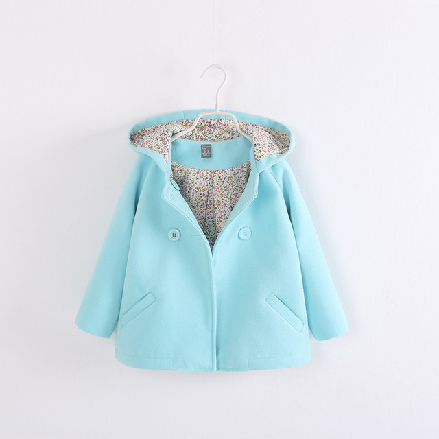 2017 new fashion autumn and winter style girls jacket candy color coats double breasted long sleeve girls outwear hooded trench