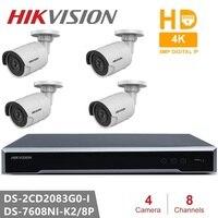 Hikvision Открытый видеонаблюдения Системы 8CH NVR + 4 штук ip камера DS 2CD2083G0 I 8MP пуля сети Камера POE H.265