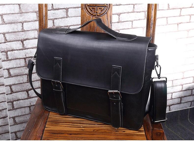 HTB1LGTsR4naK1RjSZFBq6AW7VXaK Crazy Horse Artificial Leather Business Handbag Laptop Briefcases for Men Leather Casual Men Bag Messenger Shoulder Bags Man