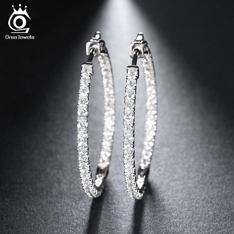 ORSA JEWELS 2019 Zilver Kleur Hoog Gepolijst Oorringen Verharde met AAA Oostenrijkse Zirconia voor Bruiloft Sieraden OE137