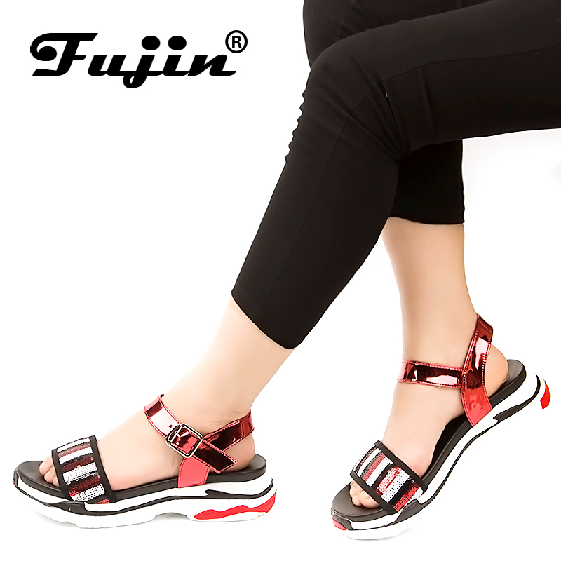 Fujin Women Sandals 2018 summer new flats thick bottom Bohemia genuine leather soft Slippers lady sandals women shoes