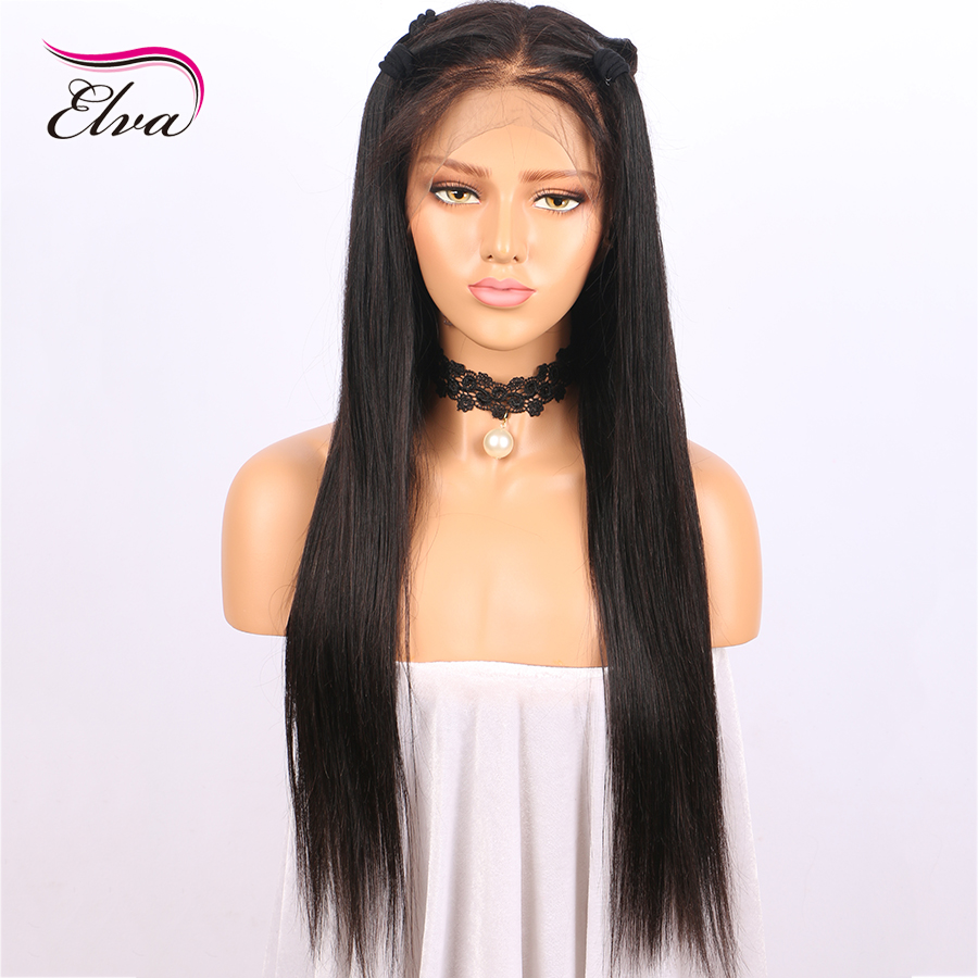 Elva Hair 180% Density 360 Lace Frontal Wig Kinky Straight Brazilian Remy Human Hair Wigs Pre Plucked Natural Hairline 10″-22″