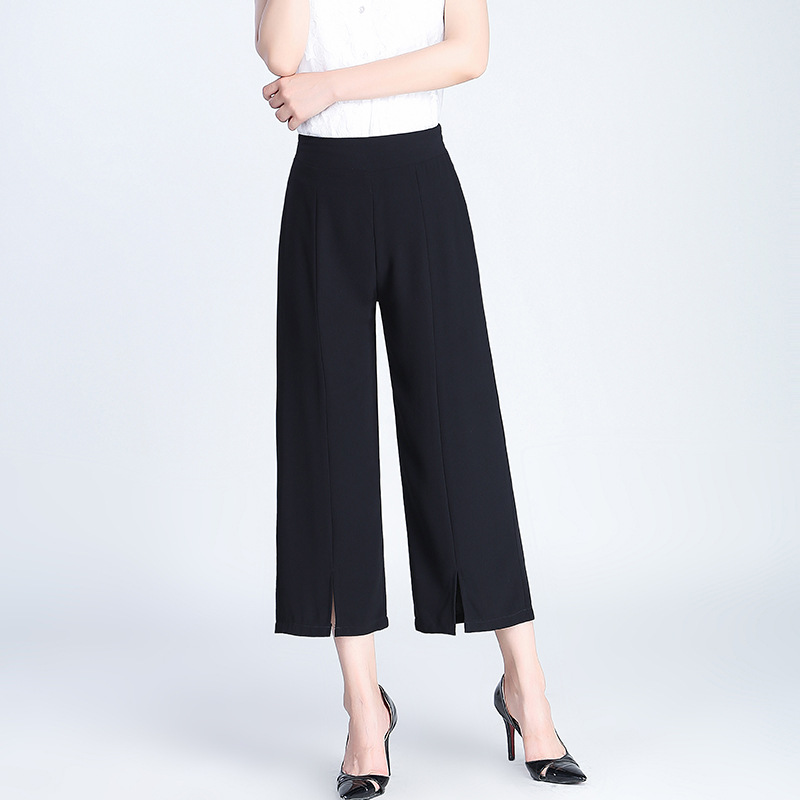 2019 S-3XL Summer   Wide     Leg     Pants   Women High Waist Loose Palazzo   Pants   Elegant Office Ladies Trousers Calf-Length