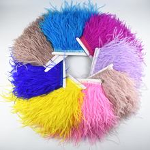 1Meter 8-10CM Ostrich feather trim for skirt/dress costume Black White ostrich feathers ribbon DIY feather For Crafts decoration цена