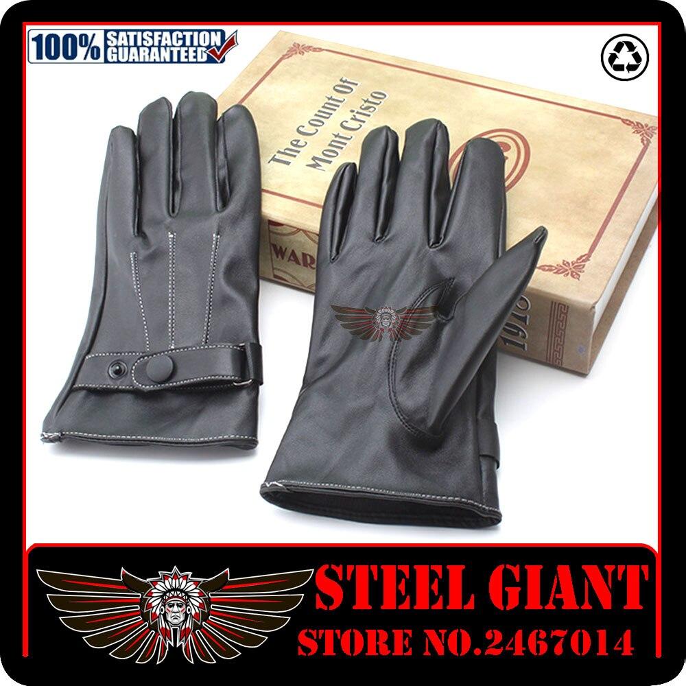 Buy leather motorcycle gloves - Hot Sale Winter Mens Pu Leather Gloves Black Luvas De Couro Motocycle Punk Rock Warm Luva Motoqueiro