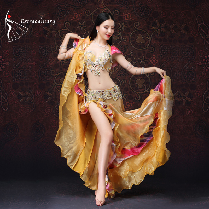 Oriental Dance Costume Golden Belly Dance Costume With Push Up Bra 3 Pieces Bra Belt Skirt