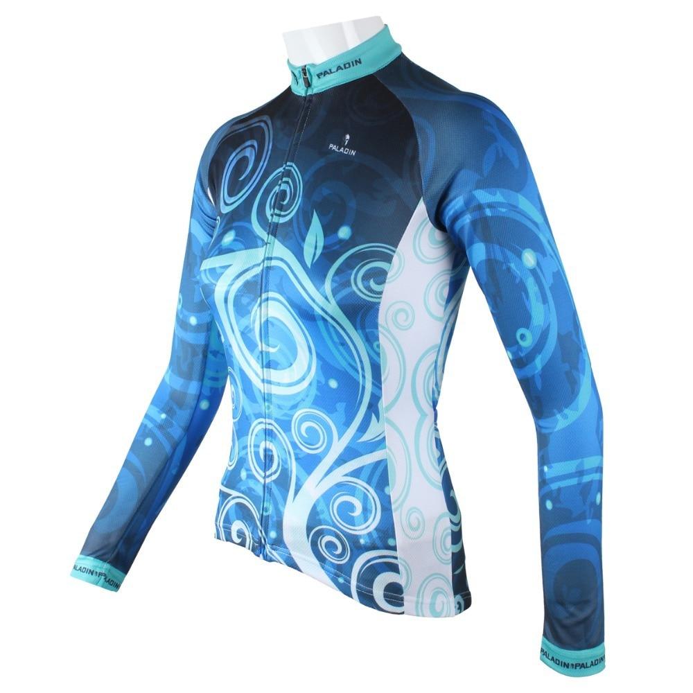 """팔라딘 """"클래식 블루 꽃""""여자 긴 소매 자전거 저지 자전거 셔츠 자전거 의류"""
