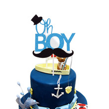 Oh Boy Cake Toppers Happy Birthday Gentleman Hat Mustche Paper Board Flag Party Decoration Supplies