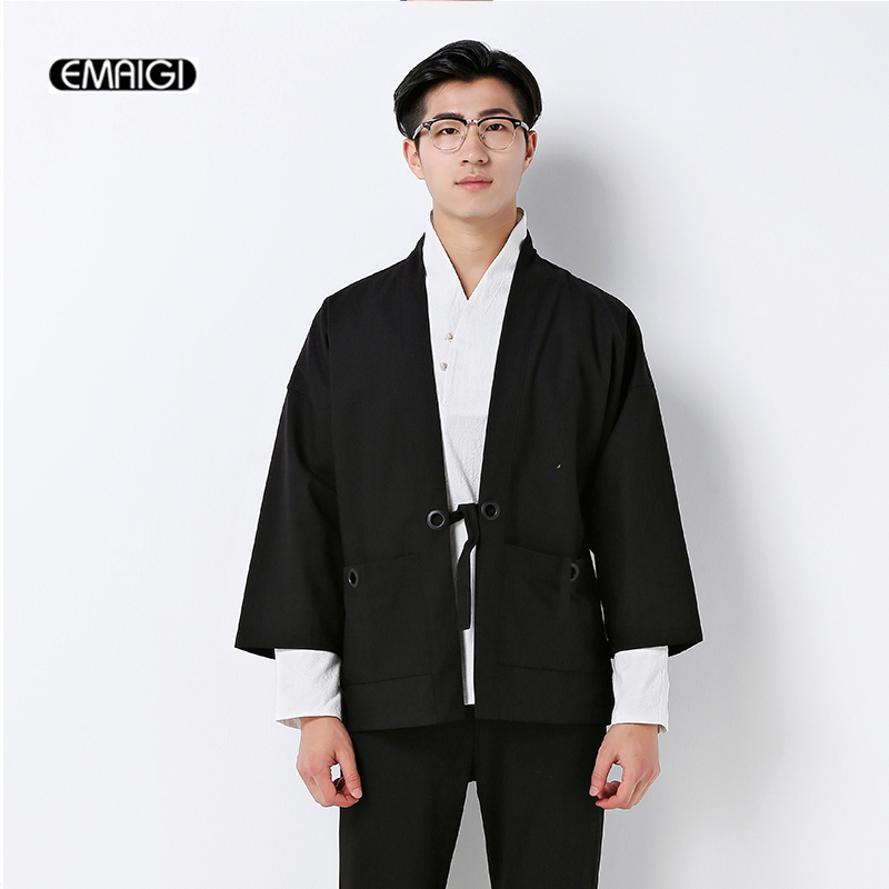 China style cotton linen cardigan coat mens fashion casual jacket ...