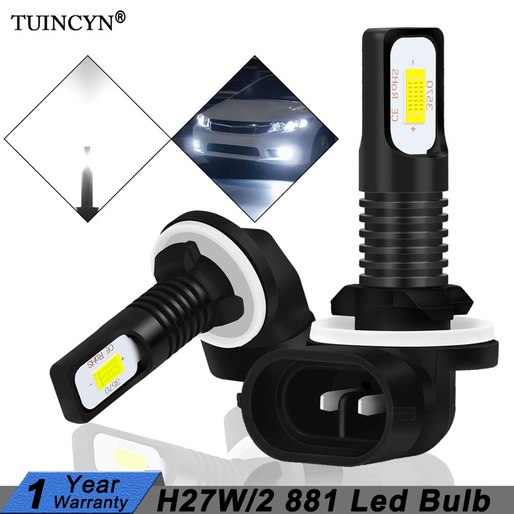 TUINCYN 2Pcs H27 Led 881 Led Bulb H27W2 2400LM 6500K White Car Fog Light Front Head Driving Running Lamp Auto 12V H27W/2 H27W
