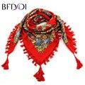BFDADI Горячие Продажа Весна Осень Мода Дамы Кисти Большой Площади Шарф Цветочный Дизайн Женщины Бренд Шаль 11 Цветов 90 Х 90 см