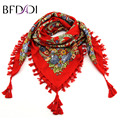 BFDADI Hot Sale Spring Autumn Fashion Ladies Tassels Big Square Scarf Floral Design Women Brand Shawl 11 Colors 90X90cm