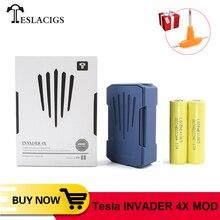 Original tesla invader 4x caixa mod vape para invasor 4x kit de tensão ajustável cigarro eletrônico vape mod vs voopoo arrastar 2