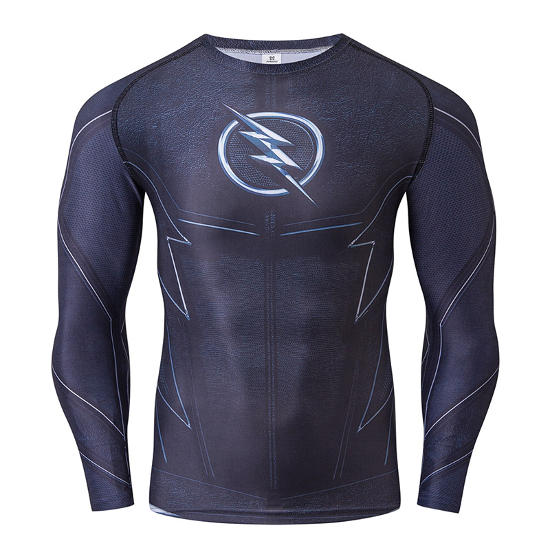 New ZOOM 3D Printed T-shirts Men Raglan Long Sleeve Compression Shirt Flash Cosplay Costume Male Crossfit Fitness Tops