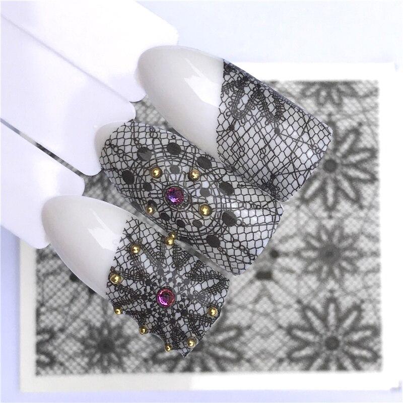 YWK Unhas de Transferência de Água Art Nail Stickers Decalques Black Lace Flores DIY Projeto Manicure Francês
