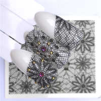 YWK Nails Water Transfer Nail Art Stickers Decals Black Lace Flowers Design DIY French Manicure
