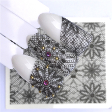 цена на YWK Nails Water Transfer Nail Art Stickers Decals Black Lace Flowers Design DIY French Manicure
